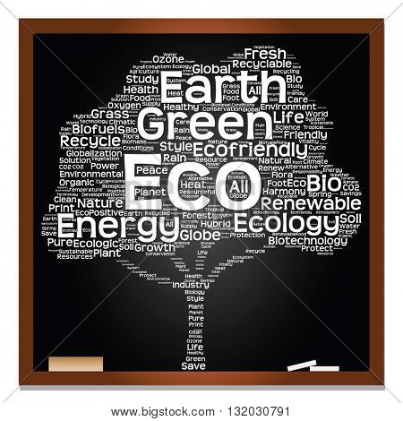 Conceptual white tree on blackboard made of ecology, recycle or energy text as wordcloud isolated on black background