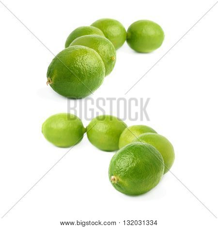 Five green limes fruits composition isolated over the white background, set of different foreshortenings