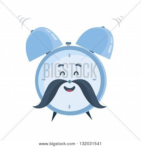 Vector funny cartoon character, laughing and ringing old-fashioned blue alarm clock with a mustache. Great design for children books, clothes, prints