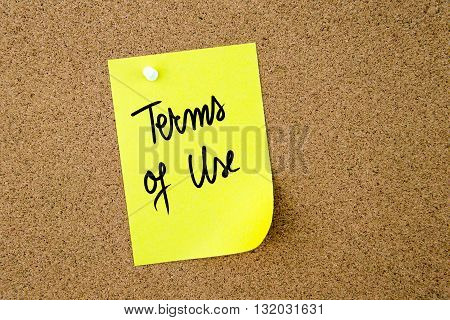 Terms Of Use Written On Yellow Paper Note
