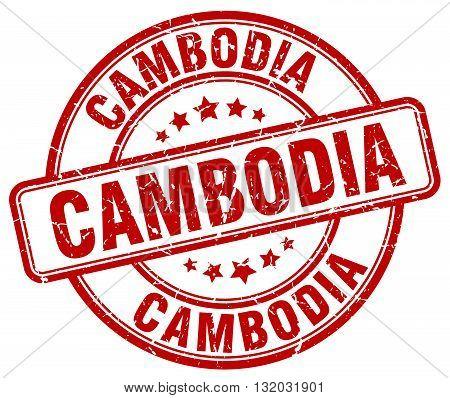 Cambodia red grunge round vintage rubber stamp.Cambodia stamp.Cambodia round stamp.Cambodia grunge stamp.Cambodia.Cambodia vintage stamp.