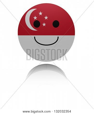 Singapore happy icon with reflection 3d illustration