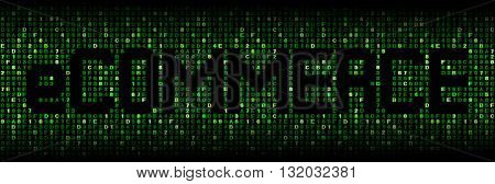 ecommerce text on green hex code illustration
