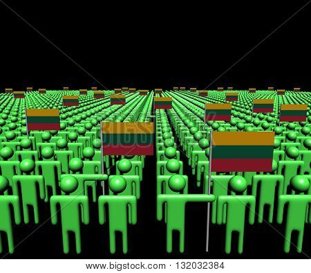 Crowd of abstract people with many Lithuanian flags 3d illustration