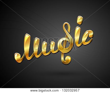 Golden music logo on black, vector illustration for Your design, eps10
