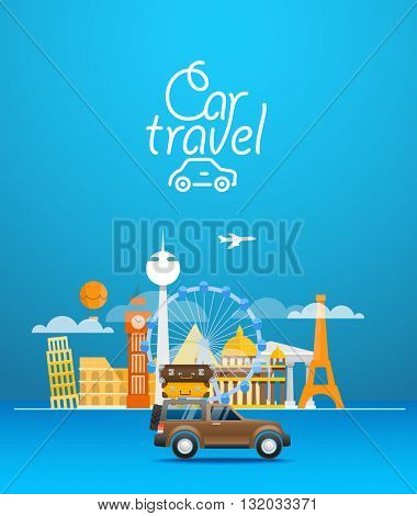 Travel vector illustration. Vacation design template. Car travel concept