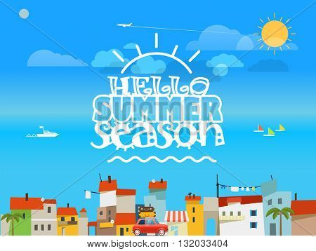 Vacation travelling concept. Flat design vector illustration. Hello summer season