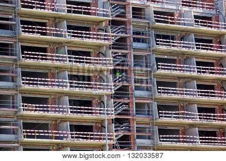 photo of Building Under Construction with Balconies closeup
