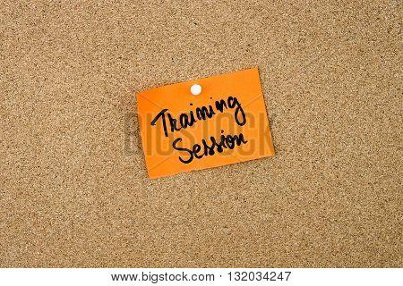 Training Session Written On Orange Paper Note