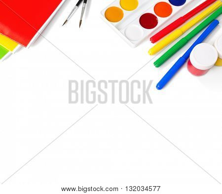 School supplies isolated on white background.