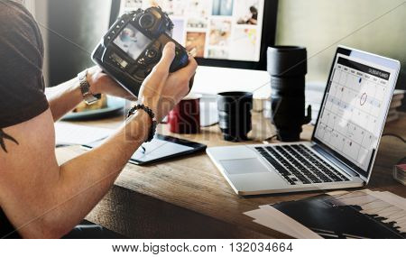 Photographer Journalist Working Studio Agency  Concept