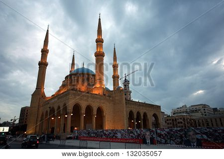 BEIRUT, LEBANON - MAY 3th, 2016: Blue Mosque or Mohammad Al-Amin Mosque in downtown Beirut, close to Martyrs' Square. Donated by late Prime Minister Rafik Hariri and inaugurated in 2008.
