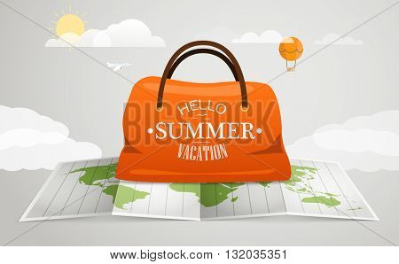 Travel bag vector illustration. Vacation concept with the bag