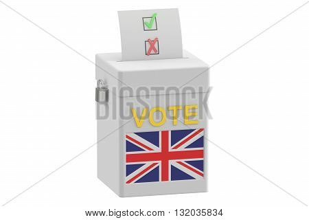 ballot box with flag of United Kingdom 3D rendering isolated on white background