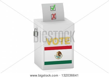 voting concept with flag of Mexico on the ballot box. 3D rendering