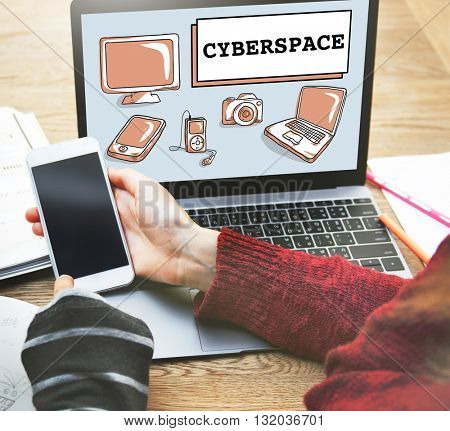 Cyberspace Digital Connection Electronics Devices Concept