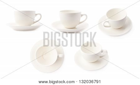 Empty white ceramic tea or coffee cup on a plate, composition isolated over the white background, set of five different foreshortenings
