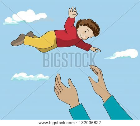 Father or mother hands throwing up happy child in the air. Daddy and son outdoor fun. Vector.