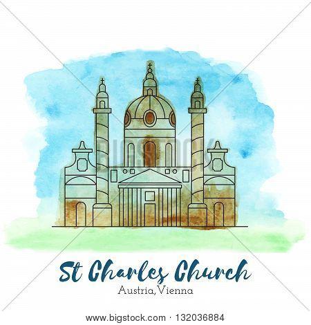 St. Charles Church. Landmark. Landmark Europe. Landmark capital. Landmark vector. Landmark eps. Landmark watercolor. Landmark icon. Landmark ui. Landmark art. Landmark print. Landmark picture. Landmark illustration.