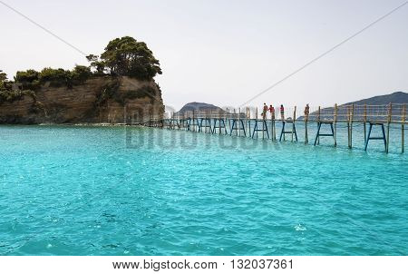 Hanging Wooden Bridge Over The Sea Cameo Island Zakynthos Greece