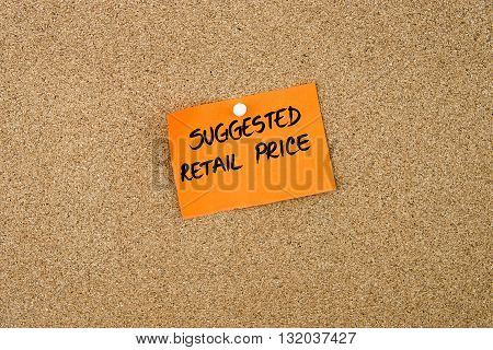 Suggested Retail Price Written On Orange Paper Note