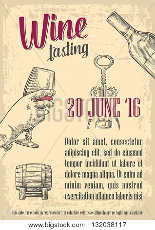 Wine tasting. Female hand holding a glass of wine. Vintage vector engraving illustration. Hand drawn sketch for poster invitation to party web banner. Old paper beige texture background.