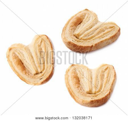 Heart shaped puff cookie pastry isolated over the white background
