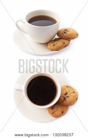 Cup of coffee and cookies composition isolated over the white background, set of two different foreshortenings