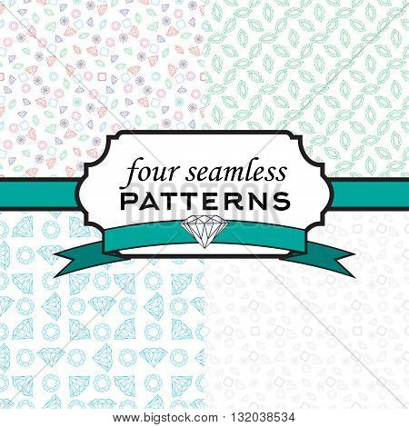 Set of seamless pattern with different crystals- emeralds, gems, jewels, rubies, diamonds, sapphires on the white background. Vector design for wedding, textile, invitation card, wallpaper, packaging