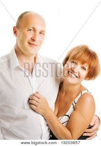 Middle-aged couple in love. Isolated on white background
