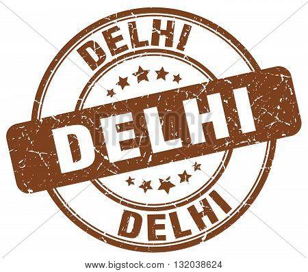 Delhi brown grunge round vintage rubber stamp.Delhi stamp.Delhi round stamp.Delhi grunge stamp.Delhi.Delhi vintage stamp.