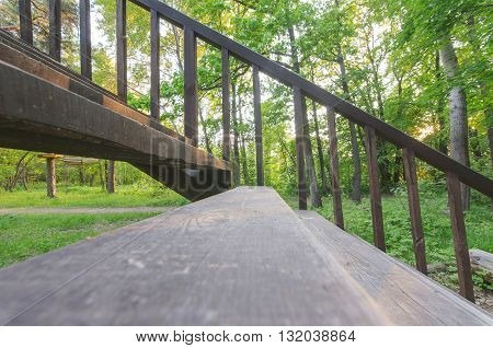 wooden Stairway in summer forest. Close-up view