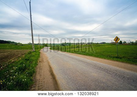 Country Road landscape St-Alban Quebec Canada cloudy day