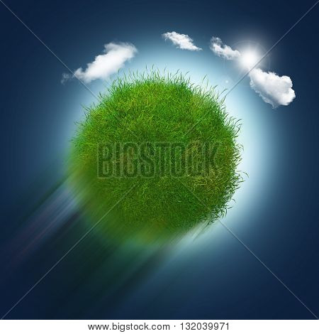 3D render of a grassy globe zooming through the sky