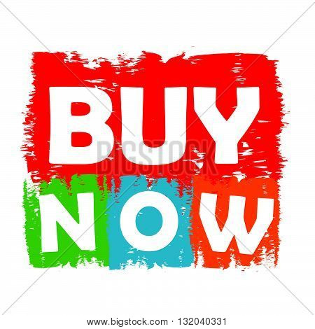 buy now drawn label - text in red, green, blue, orange and purple banner, business shopping and e-commerce concept, vector