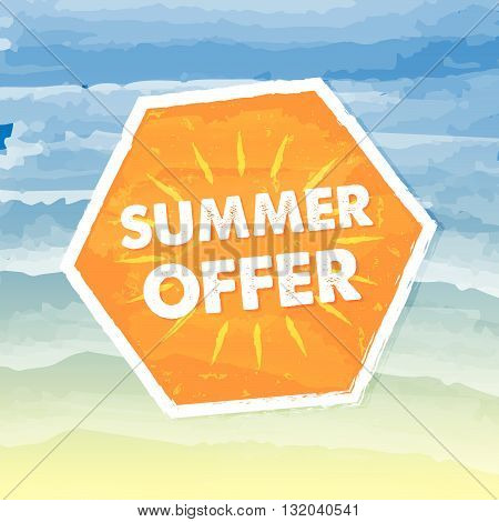 summer offer banner - text in orange hexagon label over yellow blue drawn background, business seasonal shopping concept, vector