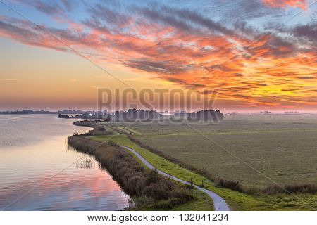 Aerial View Of Netherlands Polder Landscape