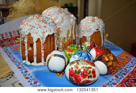 Easter cake. Paskha Kulich. Traditional food for orthodox