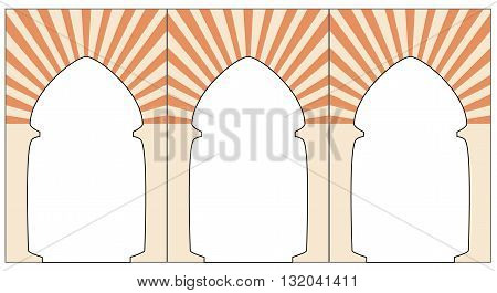 Morrocan arc. Orange ornament eastern style arc. Graphic illustration of arc. Vector. Isolated illustration
