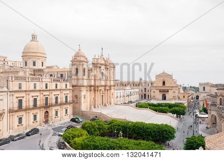 The baroque cathedral of Noto and the main street of the town