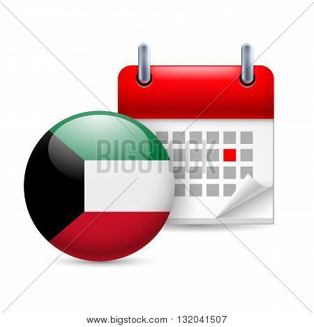 Calendar and round flag icon. National holiday in Kuwait