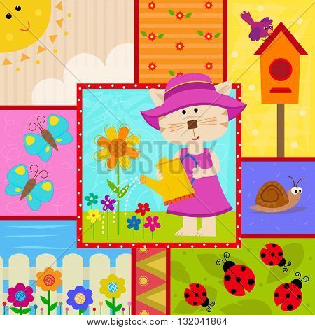 Cute garden themed design of a cat watering plants, butterflies, ladybugs, birdhouse and more. Eps10