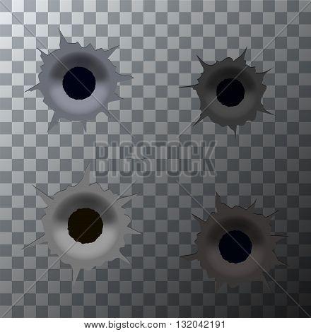 Vector modern bullet holes set on transparent background. Eps10