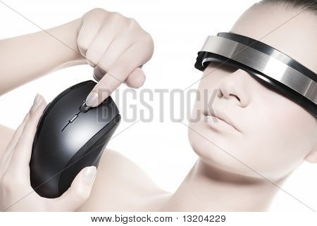 Beautiful cyber woman with computer mouse isolated on white background