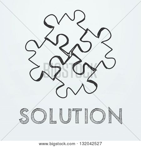 solution and puzzle pieces - text and sign in black white hand-drawn style, business creative concept, vector