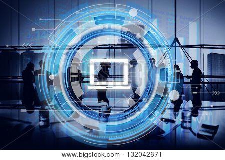 Digital Blue Hud Interface Laptop Concept