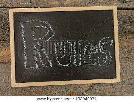 Rules written in chalk on a chalkboard on a rustic background