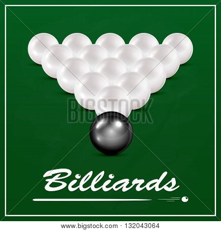 Set of white billiard balls and one black billiard ball on a green cloth background, billiard table with balls and the inscription Billiards, illustration.