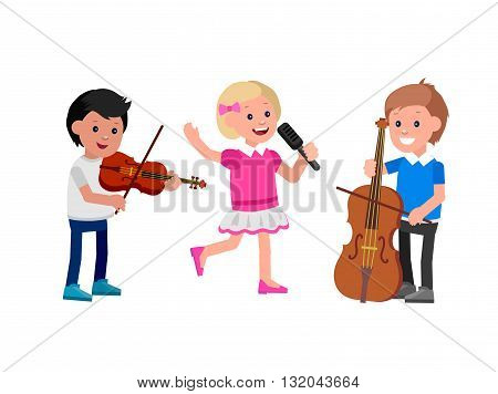 Cute vector character child. Happy kid team playing on contrabass, singing, playing on violin. Education and child development. Banner for kindergarten, children club or school of Arts, music school
