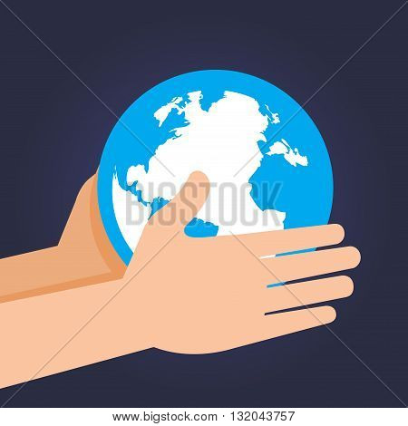 Vector stock of two hand holding and guarding planet earth